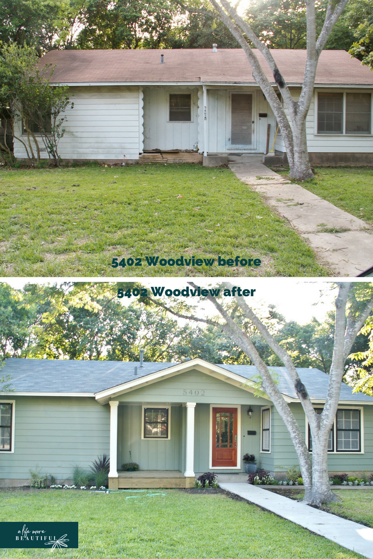 Before & after of our remodel of 5402 Woodview | A Life More Beautiful