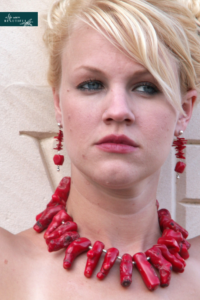 Coral necklace & earrings designed by Jest Jewelry, another creative venture by Marquette