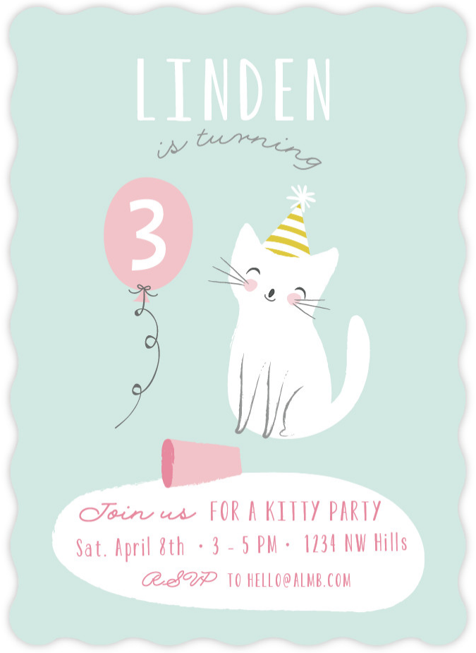 These kitten birthday party invites from Minted were perfect for our pretty kitty birthday party