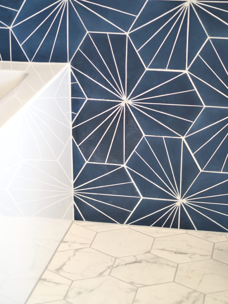 Bold blue tile adds energy to the master bathroom by A Life More Beautiful