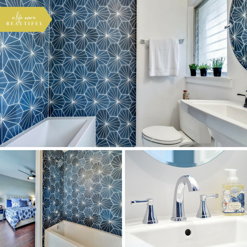 This bold and energetic marine blue bathroom was designed by A Life More Beautiful