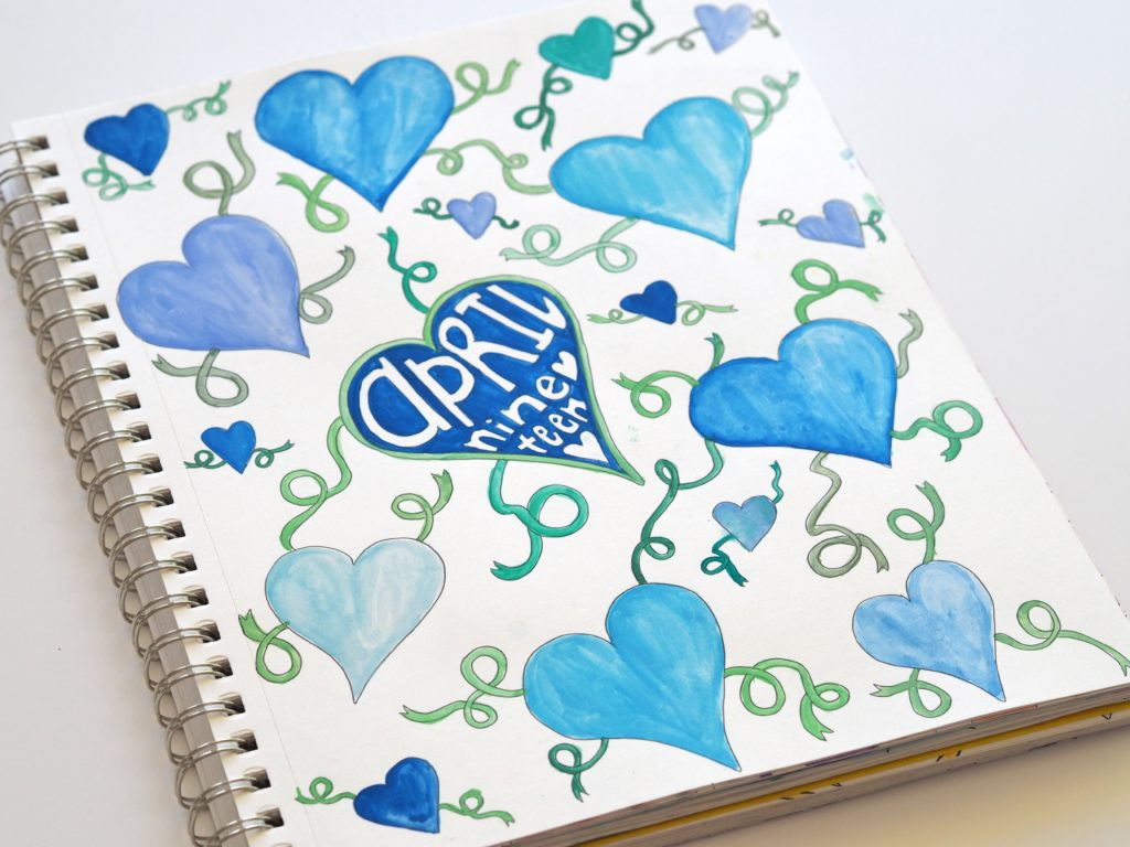 Lots of love doodles in the April art journal | ALMB