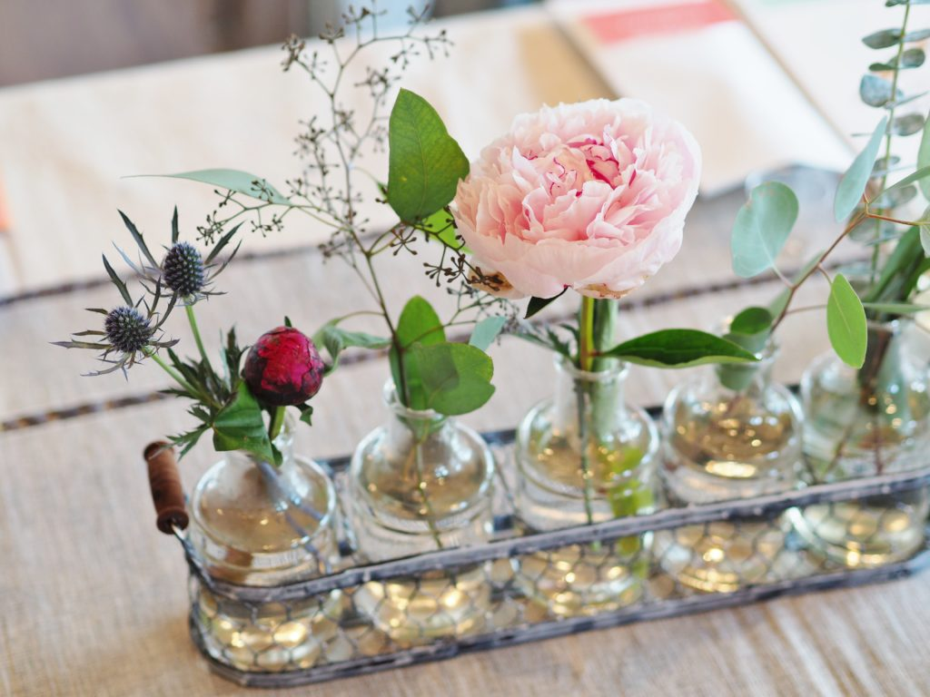 Simple peony & thistle arrangements brightened the table | ALMB