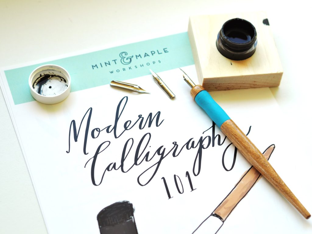 Modern calligraphy with mint maple designs a life more