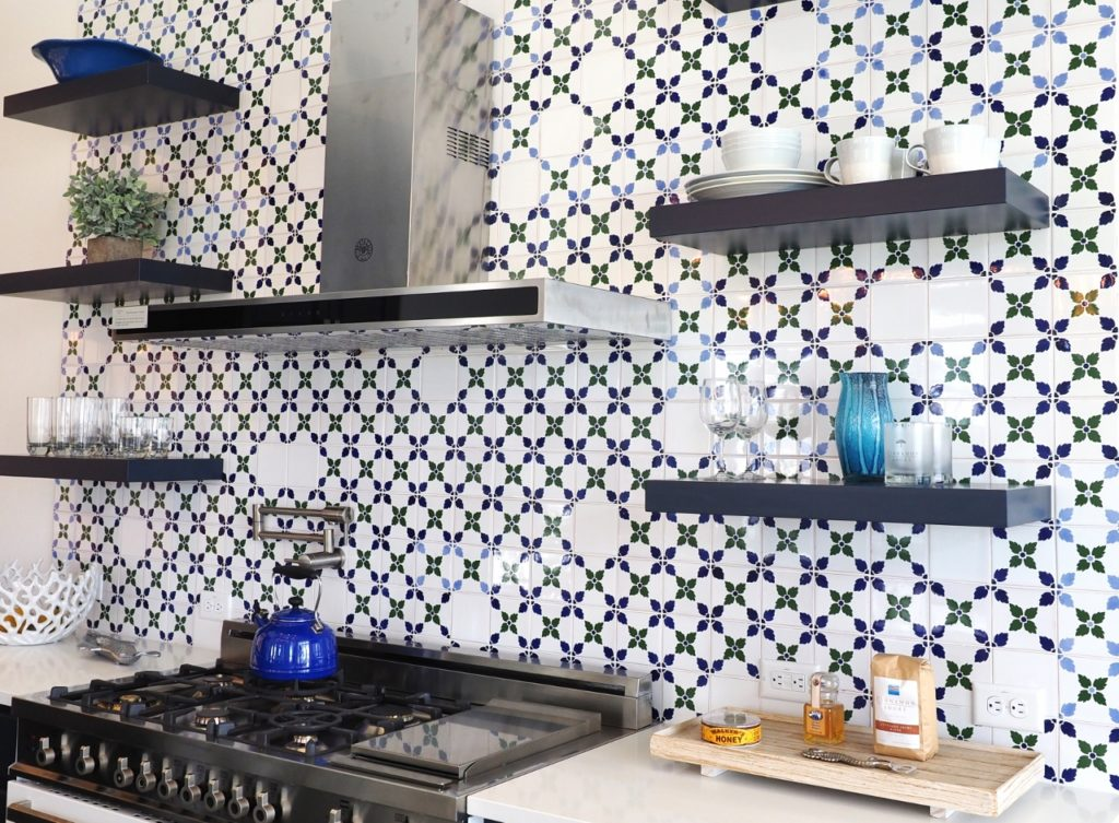 Patterned tile and open shelving are all the rage in today's kitchens   ALMB